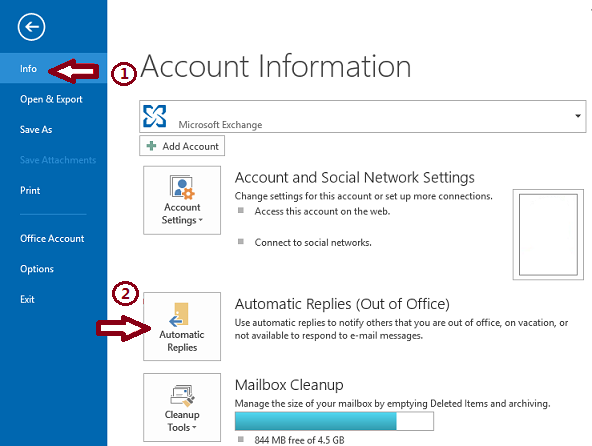How to Enable Automatic Replies in non-exchange Account Outlook
