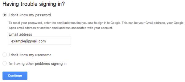 Google Password Recovery